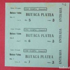 Cine: 3 ENTRADAS CINE OLIMPIA - AMPOSTA - TARRAGONA - AÑOS 40, HOJA SIN CORTAR.. L1160. Lote 205775116