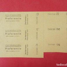 Cine: 3 ENTRADAS CINE ESPARRAGUERA - BARCELONA - AÑOS 40, HOJA SIN CORTAR.. L1161. Lote 205775467