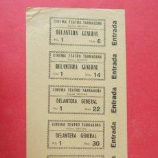 Cine: 5 ENTRADAS CINE TEATRO TARRAGONA - TARRAGONA - AÑOS 40, HOJA SIN CORTAR.. L1162. Lote 205775773