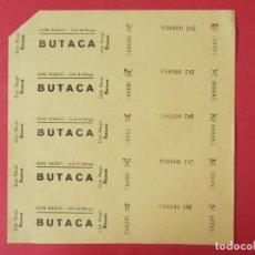 Cine: 5 ENTRADAS CINE NARGÓ - COLL DE NARÓ - LLEIDA - AÑOS 40, HOJA SIN CORTAR.. L1163. Lote 205776011