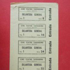 Cine: 5 ENTRADAS CINE TEATRO TARRAGONA - TARRAGONA - AÑOS 40, HOJA SIN CORTAR.. L1165. Lote 205777198