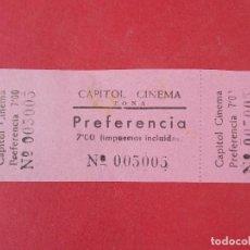 Cine: ENTRADA CINEMA CAPITOL - TONA - BARCELONA - AÑOS 40, HOJA SIN CORTAR.. L1168. Lote 205783911