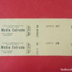 Cine: 2 ENTRADAS CINE COOPERATIVA - SANTA MARIA DE BARBERÁ - BARCELONA - AÑOS 40, HOJA SIN CORTAR.. L1170. Lote 205787731