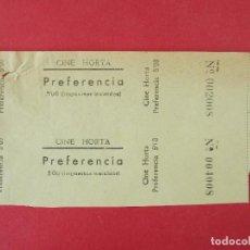 Cine: 2 ENTRADAS CINE HORTA - BARCELONA - AÑOS 40, HOJA SIN CORTAR.. L1172. Lote 205788042