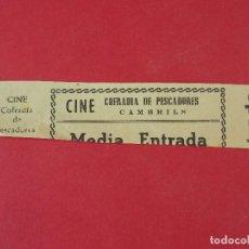Cine: ENTRADA CINE COFRADIA DE PESCADORES - CAMBRILS - BARCELONA - AÑOS 40, HOJA SIN CORTAR.. L1173. Lote 205788416