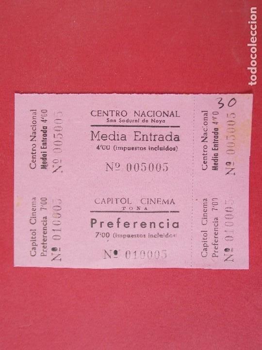 2 ENTRADAS CINE CAPITOL - TONA - BARCELONA - AÑOS 40, SIN CORTAR.. L1175 (Cine - Entradas)