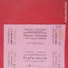 Cine: 2 ENTRADAS CINE CAPITOL - TONA - BARCELONA - AÑOS 40, SIN CORTAR.. L1175. Lote 205789018