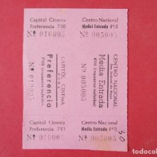 Cine: 2 ENTRADAS CINE CAPITOL - TONA - BARCELONA - AÑOS 40, HOJA SIN CORTAR.. L1175. Lote 205789018