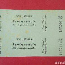 Cine: 2 ENTRADAS CINE HORTA - BARCELONA - AÑOS 40, HOJA SIN CORTAR.. L1176. Lote 205789528