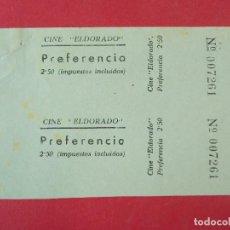 Cine: 2 ENTRADAS CINE EL DORADO - BARCELONA - AÑOS 40, HOJA SIN CORTAR.. L1177. Lote 205790025