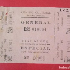 Cine: 2 ENTRADAS CENTRO CULTURAL RAPITA - MONJOS - BARCELONA - AÑOS 40, HOJA SIN CORTAR.. L1178. Lote 205790413