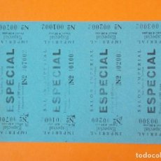 Cine: 4 ENTRADAS, SALON IMPERIAL - SAN PEDRO DE TARRASA, TERRASSA - BARCELONA - AÑOS 40... L1181. Lote 206330657