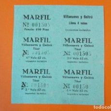 Cine: 5 ENTRADAS CINE MARFIL - VILLANUEVA Y LA GELTRU - BARCELONA - AÑOS 40... L1186. Lote 206333670