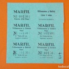 Cine: 5 ENTRADAS CINE MARFIL - VILANOVA , VILLANUEVA Y GELTRÚ - BARCELONA - AÑOS 40 - L1188. Lote 206846641