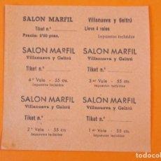 Cine: 5 ENTRADAS CINE SALON MARFIL - VILANOVA , VILLANUEVA Y GELTRÚ - BARCELONA - AÑOS 40 - L1190. Lote 206846787