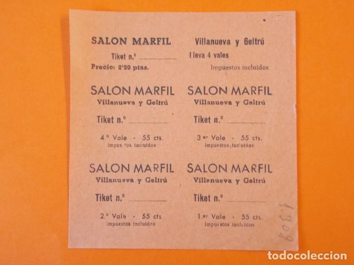 5 ENTRADAS CINE - SALON MARFIL - VILANOVA , VILLANUEVA Y GELTRÚ - BARCELONA - AÑOS 40 - L1191 (Cine - Entradas)