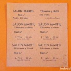 Cine: 5 ENTRADAS CINE - SALON MARFIL - VILANOVA , VILLANUEVA Y GELTRÚ - BARCELONA - AÑOS 40 - L1191. Lote 206846812
