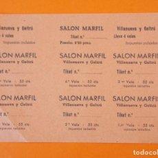 Cine: 7 ENTRADAS CINE SALON MARFIL - VILANOVA , VILLANUEVA Y GELTRÚ - BARCELONA - AÑOS 40 - L1192. Lote 206846857