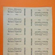 Cine: 12 ENTRADAS SIN CORTAR CINE OLAGUÉ - ORGAÑA , ORGANYA - LLEIDA - ORIGINALES AÑOS 40 - L1195. Lote 206847162