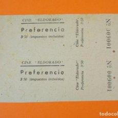 Cine: 2 ENTRADAS EL DORADO - BARCELONA - AÑOS 40 - L1198. Lote 206855288