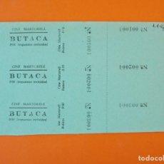 Cine: 3 ENTRADAS CINEMA MARTORELL- MARTORELL - BARCELONA - AÑOS 40 - L1203. Lote 206861938