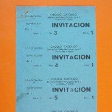 Cine: 4 INVITACIONES CINE CIRCULO CATÓLICO - VILANOVA VILLANUEVA Y GELTRÚ - BARCELONA - AÑOS 40 - L1204. Lote 206862205
