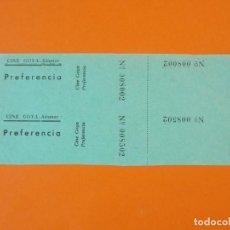 Cine: 2 ENTRADAS CINE GOYA - ALCANAR - TARRAGONA - AÑOS 40 - L1211. Lote 206864521