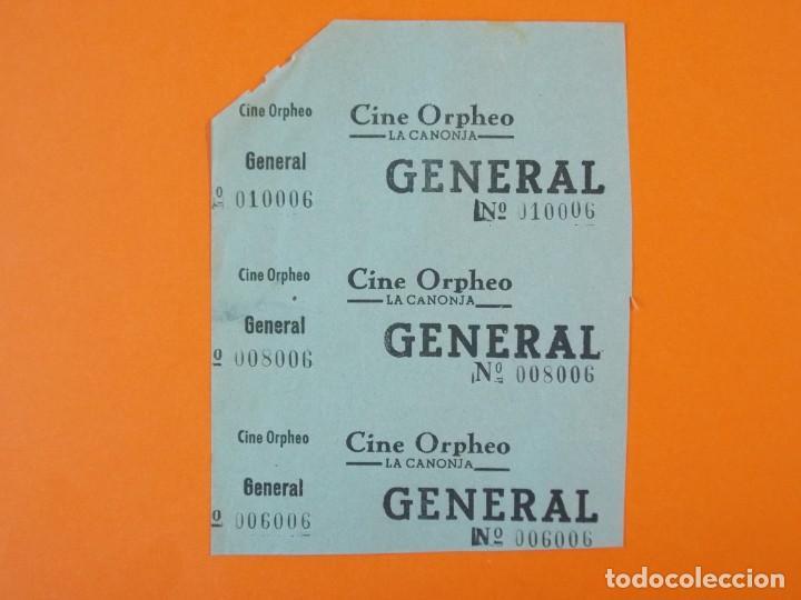 3 ENTRADAS CINE ORPHEO - CANONJA - TARRAGONA - AÑOS 40 - L1212 (Cine - Entradas)