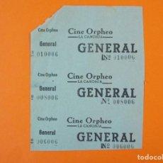 Cine: 3 ENTRADAS CINE ORPHEO - CANONJA - TARRAGONA - AÑOS 40 - L1212. Lote 206864817