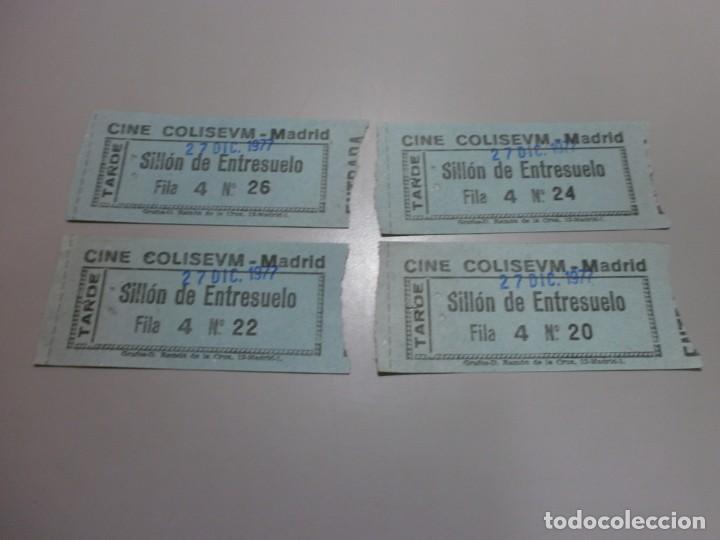 4 ENTRADAS CINE COLISEVM COLISEUM MADRID 27 DIC 1977 POSIBLEMENTE PARA VER LA GUERRA DE LAS GALAXIAS (Cine - Entradas)