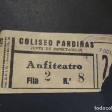 Cine: ENTRADA CINE COLISEO PARDIÑAS . JUNTA DE ESPECTÁCULOS EPOCA GUERRA CIVIL. Lote 210040821