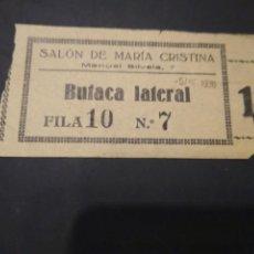 Cine: ENTRADA CINE SALÓN DE MARÍA CRISTINA. 1936 EPOCA GUERRA CIVIL.. Lote 210041930