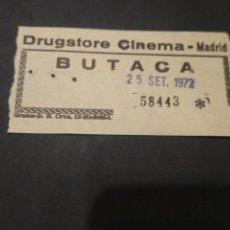 Cine: ENTRADA CINE DRUGSTORE CINEMA MADRID. 1972. Lote 210042237