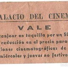 Cine: ENTRADA PALACIO DEL CINEMA BARCELONA VALE TAQUILLA SESIONES CINEMATOGRAFICAS AÑOS 40. Lote 211481772
