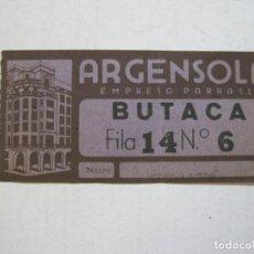 Cine: TEATRO ARGENSOLA-BUTACA-ENTRADA ANTIGUA-VER FOTOS-(V-21.607). Lote 212788021