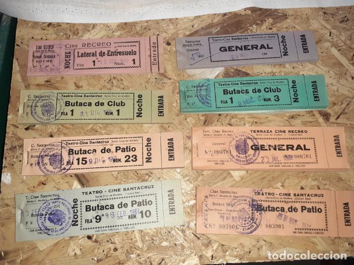 LOTE DE TACOS DE ENTRADAS DE CINE SANTA CRUZ DE MUDELA AÑOS 60/70 (Cine - Entradas)