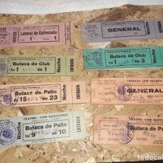 Cine: LOTE DE TACOS DE ENTRADAS DE CINE SANTA CRUZ DE MUDELA AÑOS 60/70. Lote 214309338