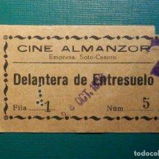 Cine: ENTRADA DE CINE - CINE ALMANZOR - DELANTERA ENTRESUELO - ALGECIRAS - AÑOS 50´S. Lote 215087812