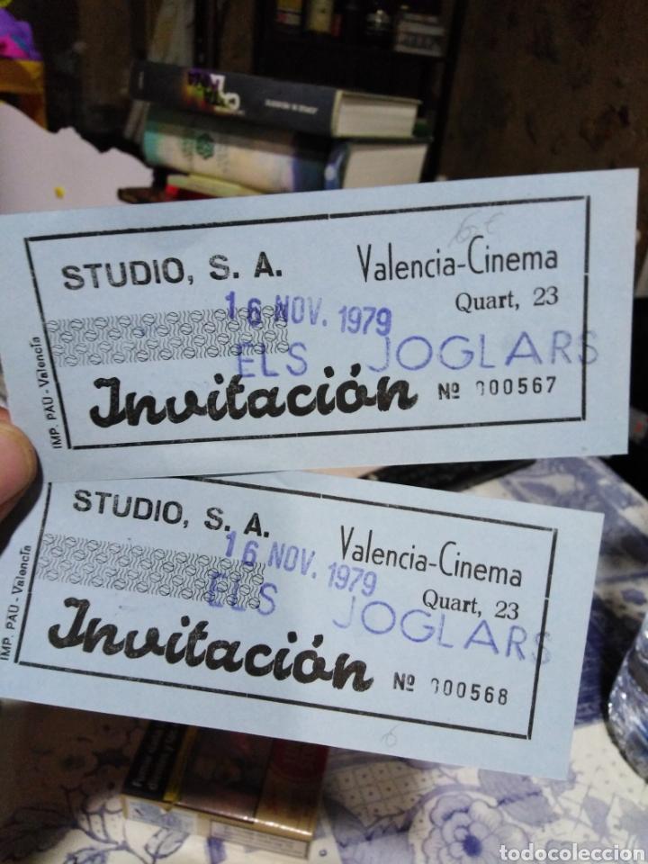 ENTRADAS DE TEATRO ELS JUGLARS,VALENCIA CINEMA, -16/11/1979,2 BILLETES CORRELATIVAS,N°567 Y N°568,QU (Cine - Entradas)