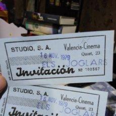 Cinéma: ENTRADAS DE TEATRO ELS JUGLARS,VALENCIA CINEMA, -16/11/1979,2 BILLETES CORRELATIVAS,N°567 Y N°568,QU. Lote 215586631