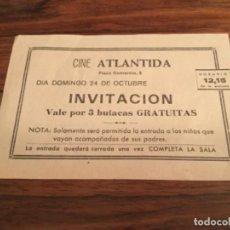 Cine: CINE ATLANTIDA INVITACION VALE TRES BUTACAS. PELICULA TIN TIN EL LAGO DE LOS TIBURONES. TECNICOLOR. Lote 217329737