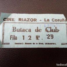 Cine: ENTRADA DE CINE RIAZOR - LA CORUÑA AÑOS 70. Lote 218891010