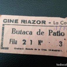 Cinéma: ENTRADA DE CINE RIAZOR - CORUÑA - AÑOS 70. Lote 218891956
