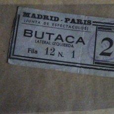 Cine: ENTRADA CINE MADRID PARIS. JUNTA DE ESPECTÁCULOS. ÉPOCA GUERRA CIVIL.. Lote 219401865