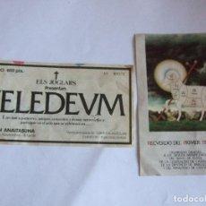 Cine: ENTRADA Y PROGRAMA DE MANO - TEATRO - TELEDEUM - ELS JOGLARS - AÑOS 80 -PABELLON ANAITASUNA PAMPLONA. Lote 220135381