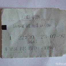 Cine: ENTRADA CINES GOLEM PAMPLONA - 1992 - PELICULA LA MANO QUE MECE LA CUNA. Lote 220135955