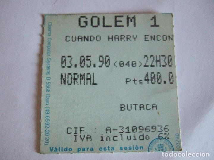 ENTRADA CINES GOLEM PAMPLONA - 1990 - PELICULA CUANDO HARRY ENCONTRO A SALLY (Cine - Entradas)