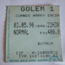 Cine: ENTRADA CINES GOLEM PAMPLONA - 1990 - PELICULA CUANDO HARRY ENCONTRO A SALLY. Lote 220136482