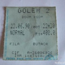 Cine: ENTRADA CINES GOLEM PAMPLONA - 1990 - PELICULA BOOM BOOM. Lote 220136507