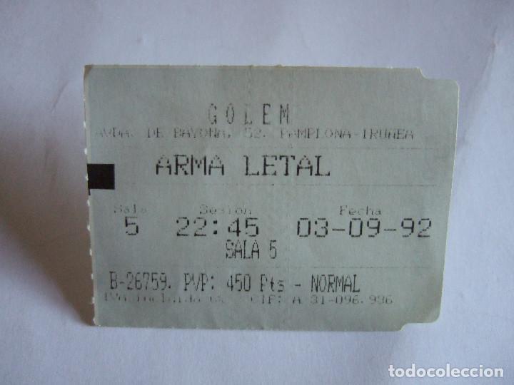 ENTRADA CINES GOLEM PAMPLONA - 1992 - PELICULA ARMA LETAL (Cine - Entradas)